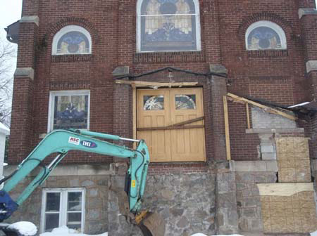 Front entrance being restored